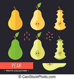 Pear set. Green and yellow pears. Modern flat icons. Vector illustration