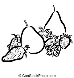 Pear Sketch Vegetables Outline Vect
