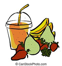 Pear Strawberrie Banana Smoothie, Colored Artwork separated ...