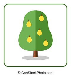 Pear tree icon. Flat sign with fruit. Trendy beautiful...