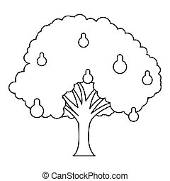 Pear tree icon, outline style - Pear tree icon. Outline...