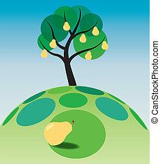 pear tree on grass - illustration of pear tree on grass