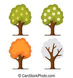 Pear Tree Set on White Background. Vector illustration