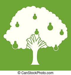 Pear tree with pears icon green - Pear tree with pears icon...