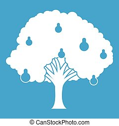 Pear tree with pears icon white isolated on blue background...
