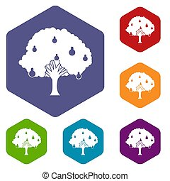 Pear tree with pears icons set rhombus in different colors...