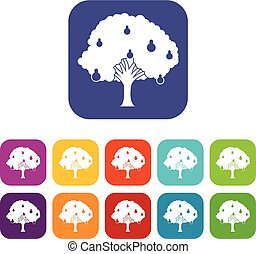 Pear tree with pears icons set vector illustration in flat...