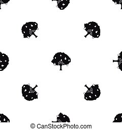 Pear tree with pears pattern seamless black - Pear tree with...