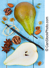 Pear, vanilla and spices.