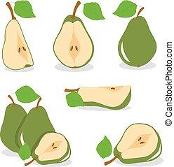 Pear, vector, green pears