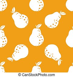 Pear vintage pattern. Seamless fruit background. Great for wallpaper, scrapbooking and fabric print. Cute simple cartoon design. Vector