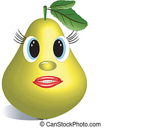 Yellow pear with eyes