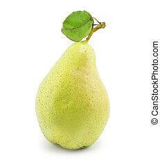 pear with green leaf