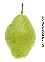 Pear with water droplets isolated on white background