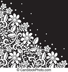 Pearl and lace border on black background