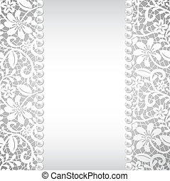 pearl and lace - wedding, greeting or invitation card with...