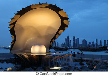 Pearl and Oyster Fountain in Doha - The Pearl and Oyster...