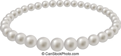 Pearl beads on a white background (isolated).