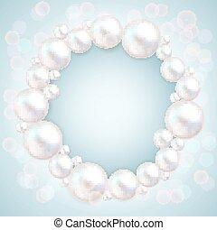 Pearl beads wedding invitation frame on blue background. Jewellery bracelet, necklace . Wedding invitation white pearls vector background.