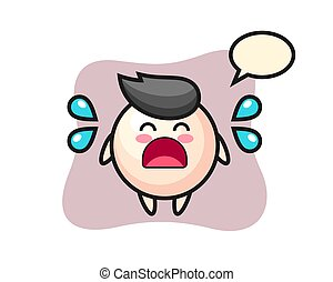 Pearl cartoon illustration with crying gesture, cute style design for t shirt, sticker, logo element