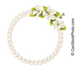 Pearl circle like frame with cherry flowers isolated on white