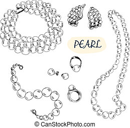 Pearl collection - Pearl. Collection of hand drawn graphic...