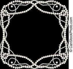 Black background with pearl necklace frame. Vector illustration