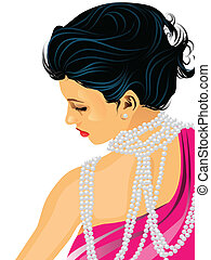 Vector graphic illustration of a woman with many pearls