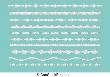 Pearl glamour borders. Vector bride pearls vintage accessories necklace patterns isolated on green