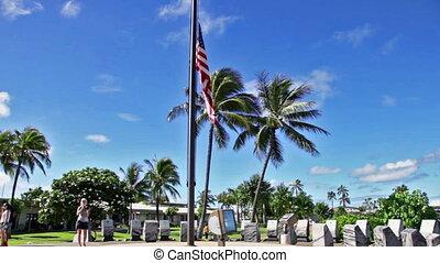 Pearl Harbor half-mast flag - American Flag at Pearl Harbor...