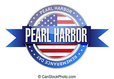 pearl harbor remembrance day seal stamp illustration design...
