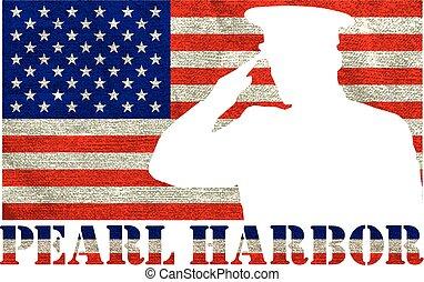 Pearl Harbor. Remembrance day. Vector illustration Patriotic...