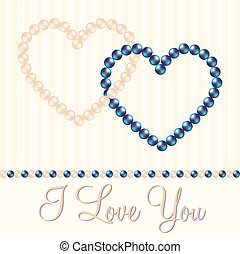 Pearl Heart Card - Cream and blue/black inter linked pearl...