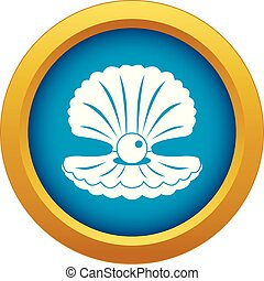 Pearl in a shell icon blue vector isolated