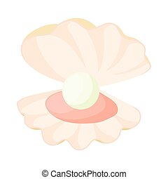 Pearl in a shell icon, cartoon style