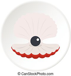 Pearl in a shell icon circle