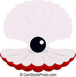 Pearl in a shell icon isolated