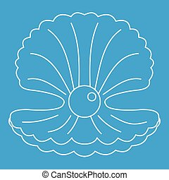 Pearl in a shell icon outline
