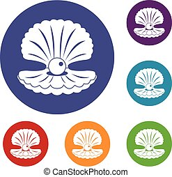 Pearl in a shell icons set