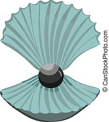Pearl in the shell. Vector illustration of a beautiful ...