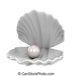 Pearl inside seashell. 3d illustration isolated on white...
