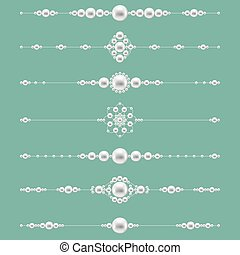 Pearl jewelry dividers. Vector pearls set