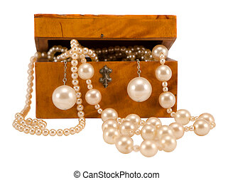 Pearl jewelry in retro wooden box isolate on white