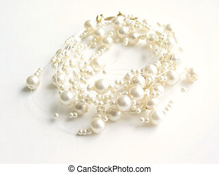 Pearl necklace (high key), white background