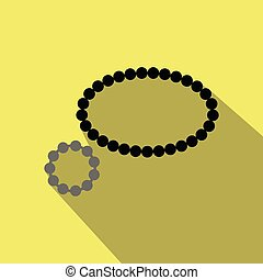 Pearl necklace icon in cartoon style isolated on background. Jewelry and accessories symbol stock vector illustration.