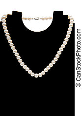 pearl necklace isolated on black background