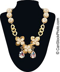 pearl necklace - Isolated Vector Golden Necklace With Pearls...