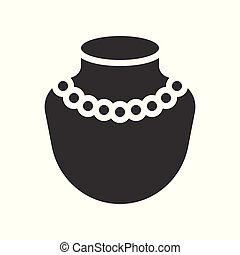 pearl necklace, jewelry vector icon, glyph style