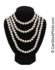 Pearl necklace on black mannequin isolated on white background