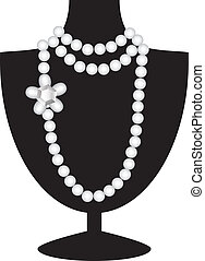 Pearl necklace with diamond on black mannequin isolated on white